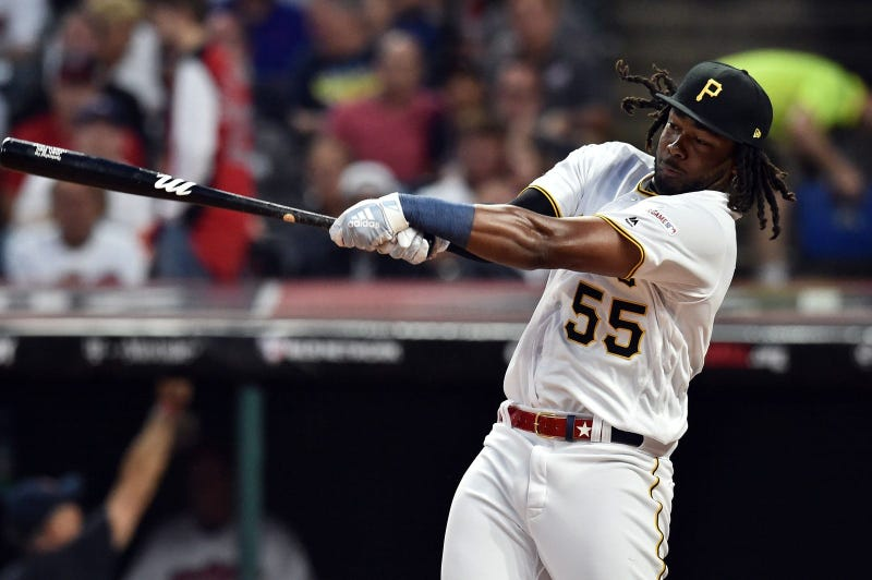 Pittsburgh Pirates first baseman Josh Bell (55) during the first round in the 2019 MLB Home Run Derby at Progressive Field.