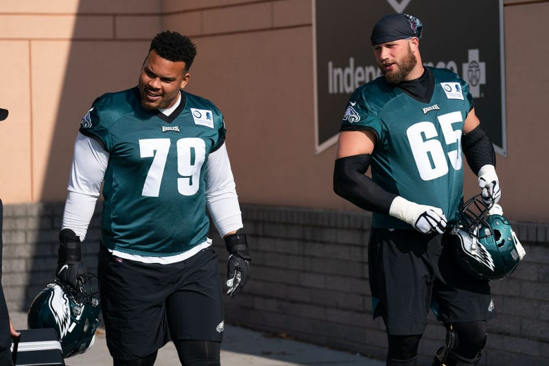 Philadelphia Eagles offensive tackle Lane Johnson (65) and offensive guard Brandon Brooks (79) during training camp at Novacare Complex.
