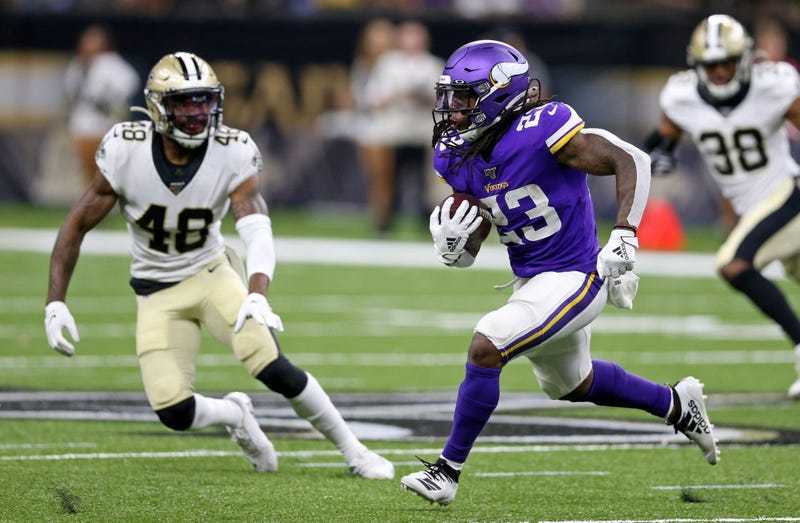 Aug 9, 2019; New Orleans, LA, USA; Minnesota Vikings running back Mike Boone (23) runs against the New Orleans Saints in the second half at the Mercedes-Benz Superdome.