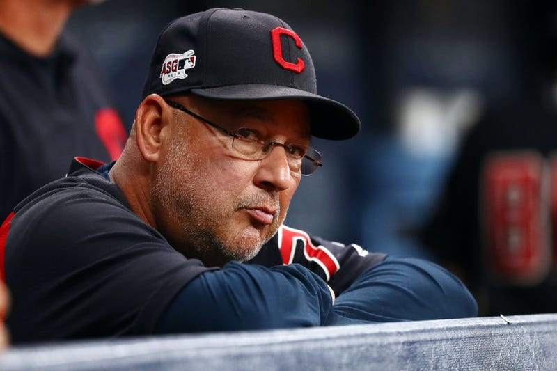 Aug 31, 2019; St. Petersburg, FL, USA;Cleveland Indians manager Terry Francona (77) looks on during the third inning against the Tampa Bay Rays at Tropicana Field. Mandatory Credit: Kim Klement-USA TODAY Sports