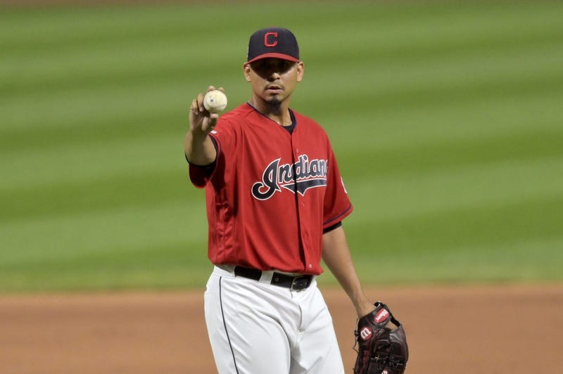 Sep 3, 2019; Cleveland, OH, USA; Cleveland Indians relief pitcher Carlos Carrasco (59) reacts in the eighth inning against the Chicago White Sox at Progressive Field. Mandatory Credit: David Richard-USA TODAY Sports