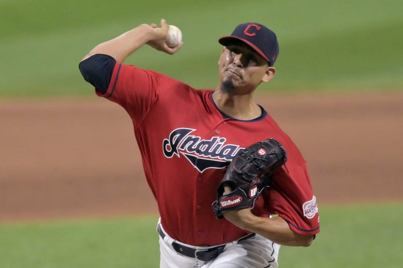 Sep 3, 2019; Cleveland, OH, USA; Cleveland Indians starting pitcher Carlos Carrasco (59) delivers against the Chicago White Sox in the eighth inning at Progressive Field. Mandatory Credit: David Richard-USA TODAY Sports