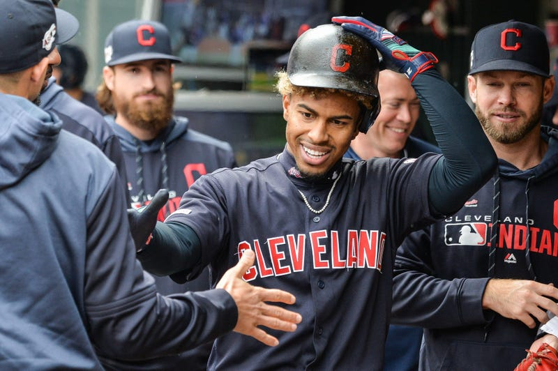 Sep 8, 2019; Minneapolis, MN, USA; Cleveland Indians shortstop Francisco Lindor (12) reacts with teammates after hitting a home run off Minnesota Twins starting pitcher Devin Smeltzer (not shown) during the fifth inning at Target Field. Mandatory Credit: