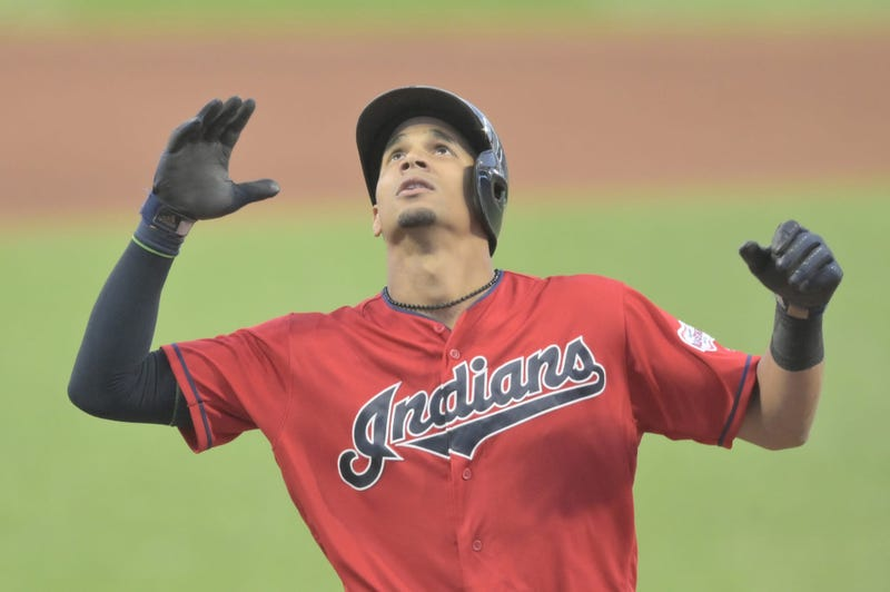 Sep 17, 2019; Cleveland, OH, USA; Cleveland Indians center fielder Oscar Mercado (35) celebrates his solo home run in the first inning against the Detroit Tigers at Progressive Field. Mandatory Credit: David Richard-USA TODAY Sports