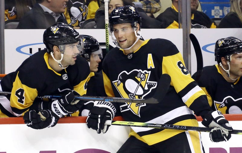 Pittsburgh, PA, USA; Pittsburgh Penguins defenseman Justin Schultz (4) and defenseman Brian Dumoulin