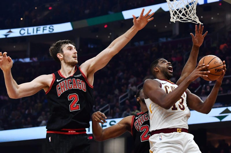 Oct 30, 2019; Cleveland, OH, USA; Cleveland Cavaliers center Tristan Thompson (13) drives to the basket against Chicago Bulls forward Luke Kornet (2) during the first half at Rocket Mortgage FieldHouse. Mandatory Credit: Ken Blaze-USA TODAY Sports
