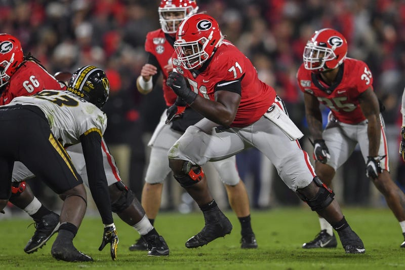 Georgia Bulldogs offensive lineman Andrew Thomas (71) blocks against the Missouri Tigers during the first half at Sanford Stadium.