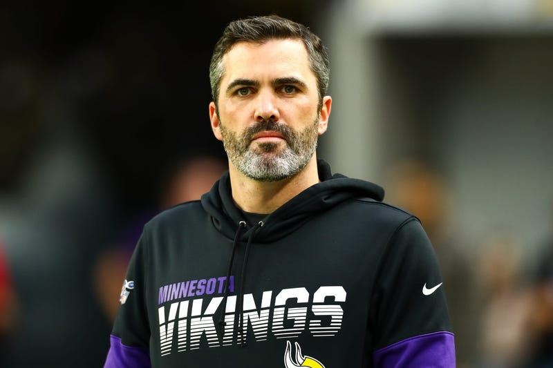 Nov 17, 2019; Minneapolis, MN, USA; Minnesota Vikings offensive coordinator Kevin Stefanski looks on before the start of a game against the Denver Broncos at U.S. Bank Stadium. Mandatory Credit: David Berding-USA TODAY Sports
