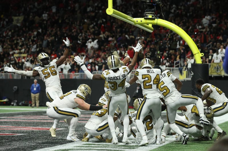 Saints celebrate in endzone