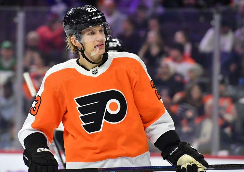 Philadelphia Flyers left wing Oskar Lindblom in 2019