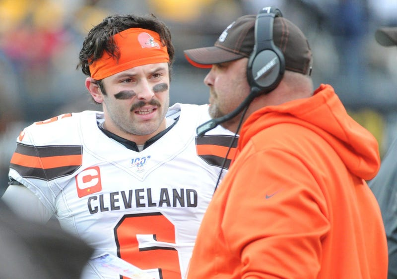 Dec 1, 2019; Pittsburgh, PA, USA; Cleveland Browns quarterback Baker Mayfield (6) talks with head coach Freddie Kitchens during a challenged call against the Pittsburgh Steelers during the first quarter at Heinz Field. Mandatory Credit: Philip G. Pavely-U