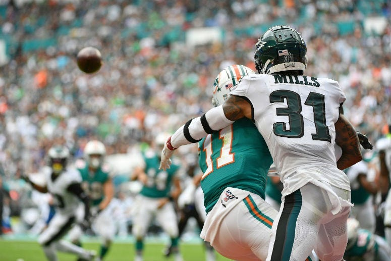 Philadelphia Eagles cornerback Jalen Mills (31) is called for defensive pass interference on Miami Dolphins wide receiver DeVante Parker (11).