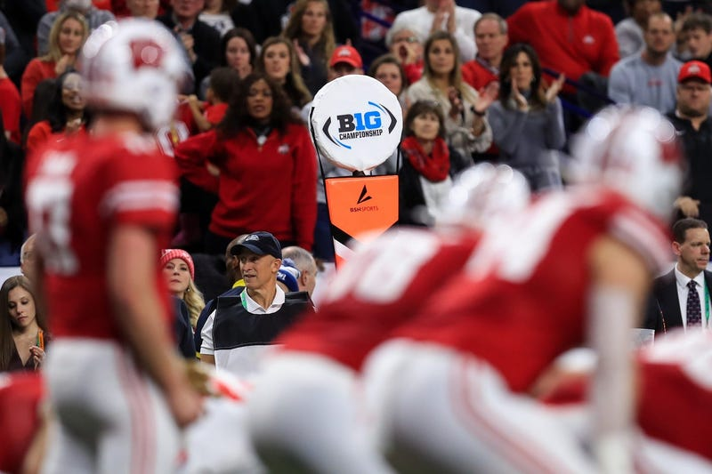 A view of the Big Ten logo on a sideline marker as the Wisconsin Badgers offense takes the field against the Ohio State Buckeyes defense during the first half in the 2019 Big Ten Championship Game at Lucas Oil Stadium.