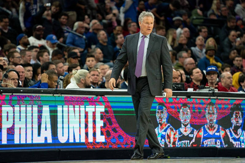 Philadelphia 76ers head coach Brett Brown in a game against the Brooklyn Nets.
