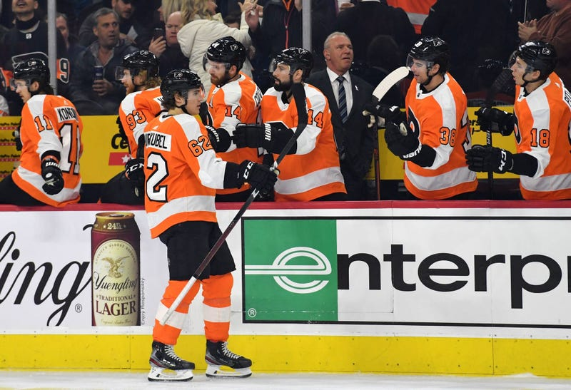 Philadelphia Flyers right wing Nicolas Aube-Kubel (62) celebrates a goal with teammates against the San Jose Sharks at Wells Fargo Center.