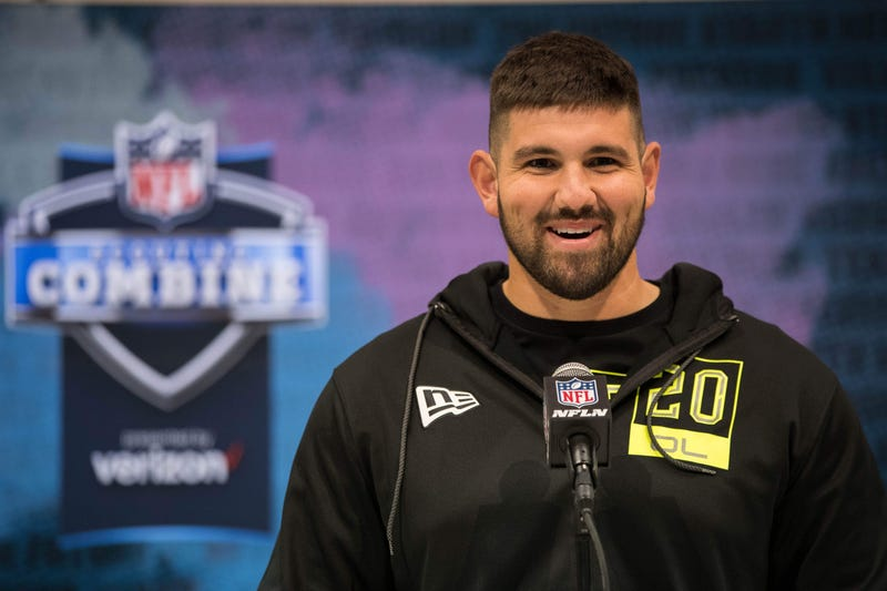Temple offensive lineman Matt Hennessy speaks to the media during the 2020 NFL Combine in the Indianapolis Convention Center.