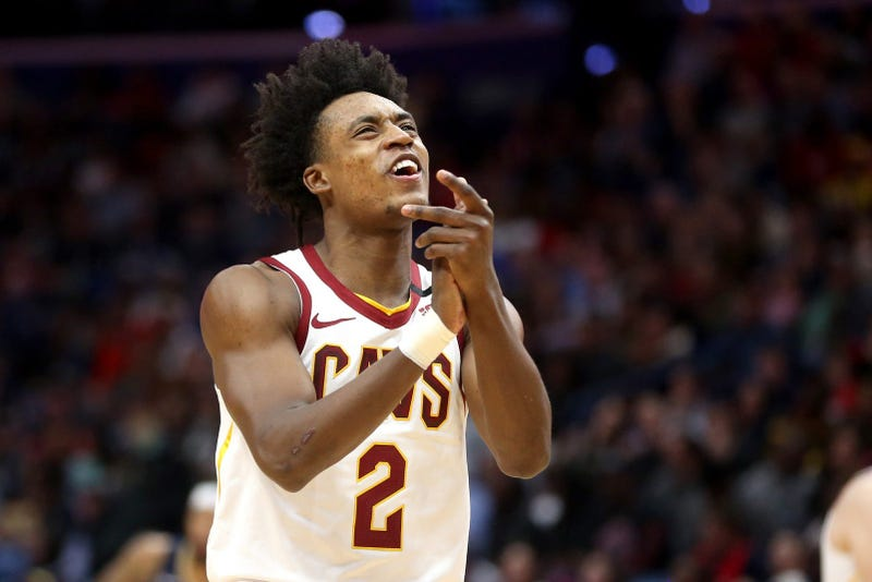 Feb 28, 2020; New Orleans, Louisiana, USA; Cleveland Cavaliers guard Collin Sexton (2) reacts after making a free throw against the New Orleans Pelicans in the second quarter at the Smoothie King Center. Mandatory Credit: Chuck Cook-USA TODAY Sports