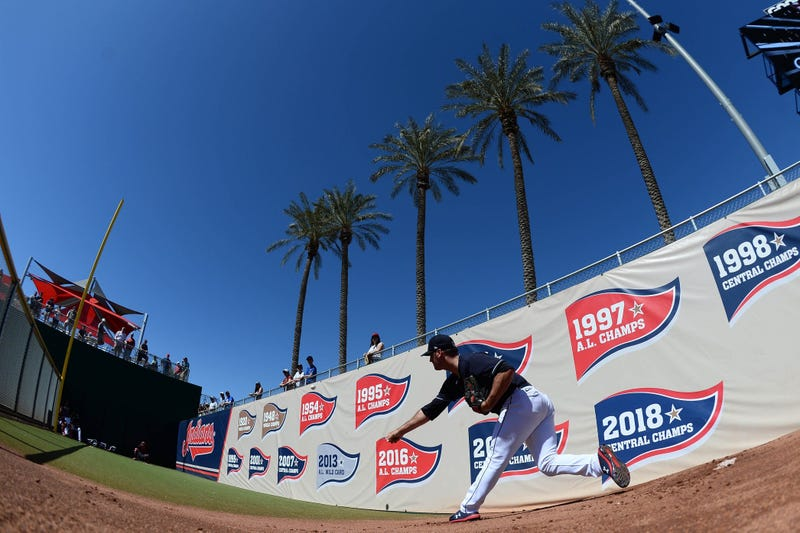 Cleveland Indians starting pitcher Adam Plutko (45) warms up prior to a spring training game against the Chicago Cubs at Goodyear Ballpark
