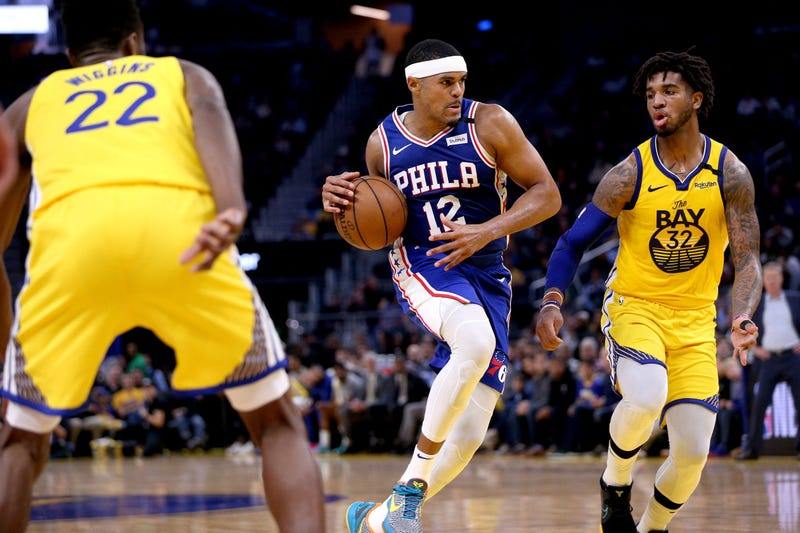 Philadelphia 76ers forward Tobias Harris (12) drives to the basket against the Golden State Warriors in the second quarter at the Chase Center.