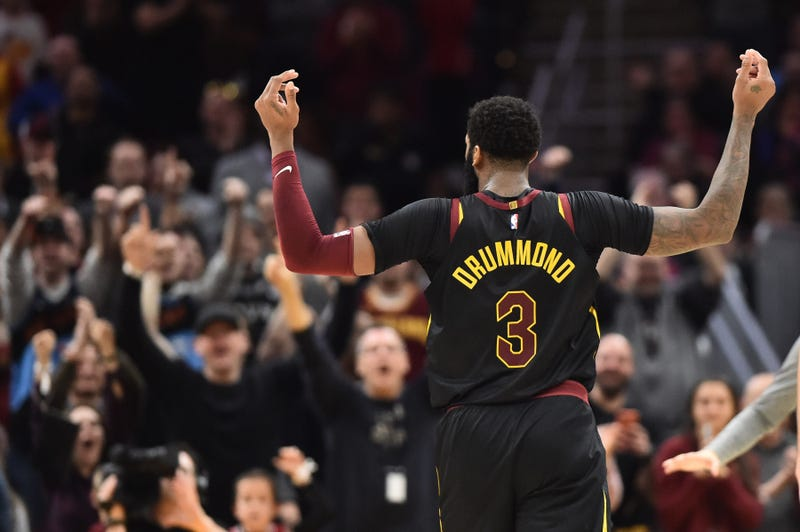 Mar 8, 2020; Cleveland, Ohio, USA; Cleveland Cavaliers center Andre Drummond (3) reacts after a basket during the second half against the San Antonio Spurs at Rocket Mortgage FieldHouse. Mandatory Credit: Ken Blaze-USA TODAY Sports