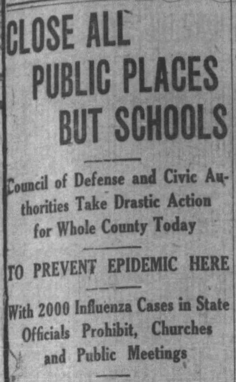 headline announces broad closures during 1918 flu pandemic.