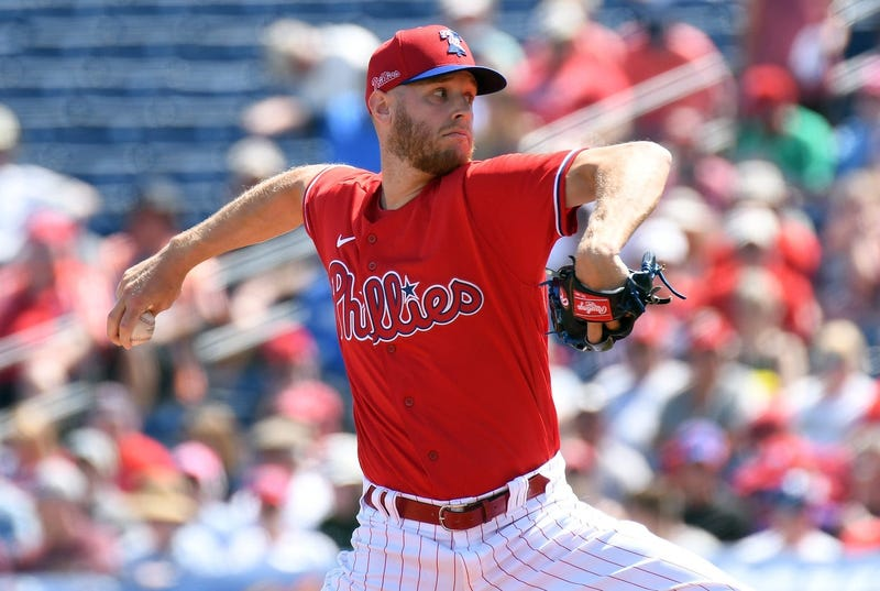 Philadelphia Phillies starting pitcher Zack Wheeler (45) throws a pitch in the first inning against the Minnesota Twins at Spectrum Field.