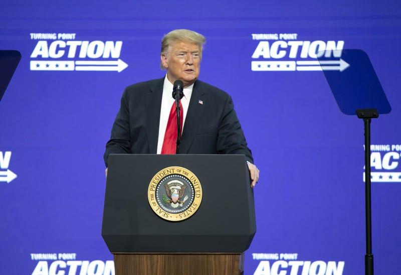 President Donald Trump at a podium