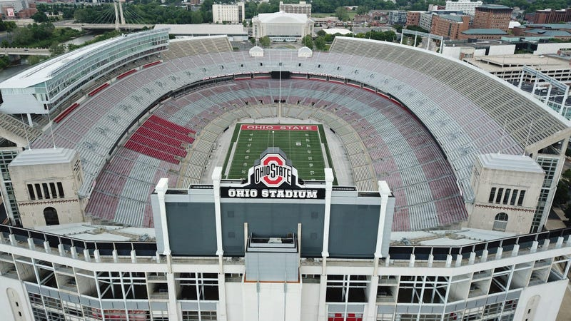 Ohio Stadium, also known as the Horseshoe, the Shoe, and the House That Harley Built, is on the campus of The Ohio State University.