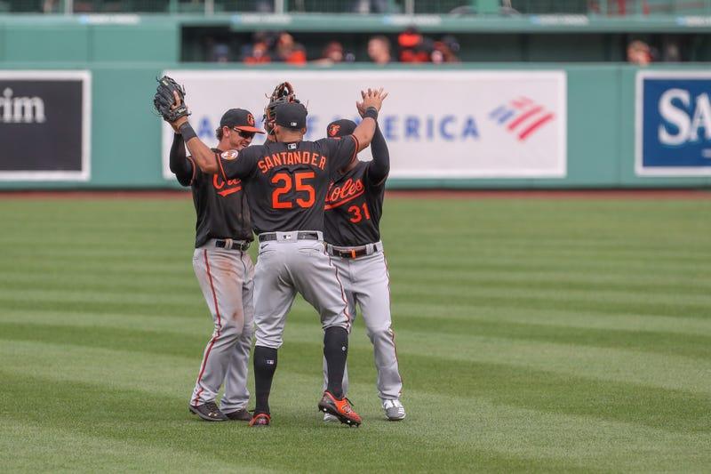 Orioles celebrate win at Fenway Park