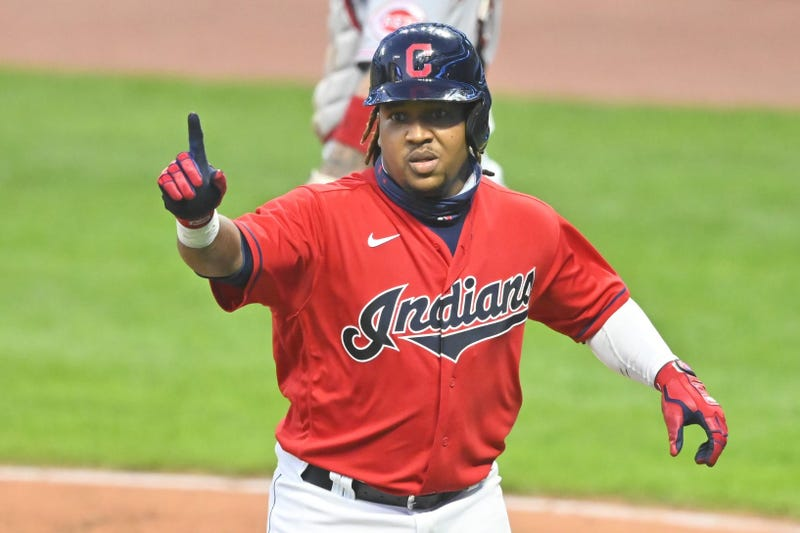 Cleveland Indians third baseman Jose Ramirez (11) celebrates his two-run home run in the seventh inning against the Cincinnati Reds at Progressive Field.