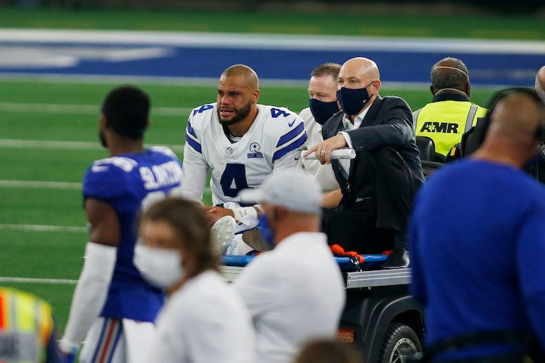 Dak Prescott, Dallas Cowboys, Injury, Cart, 2020