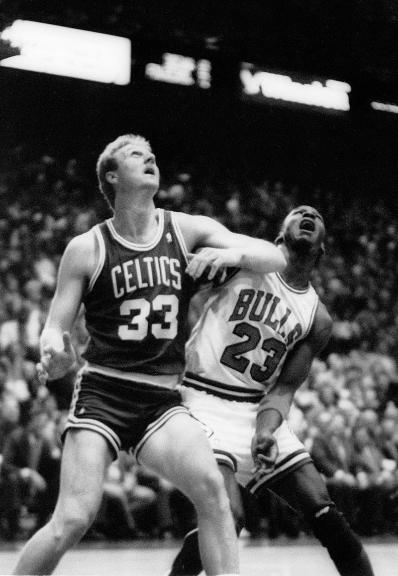 Larry Bird battles Michael Jordan