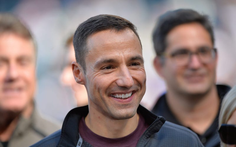 Oct 4, 2015; Cleveland, OH, USA; Cleveland Indians general manager Chris Antonetti stands on the field prior to a game between the Cleveland Indians and the Boston Red Sox at Progressive Field. Cleveland won 3-1. Mandatory Credit: David Richard-USA TODAY