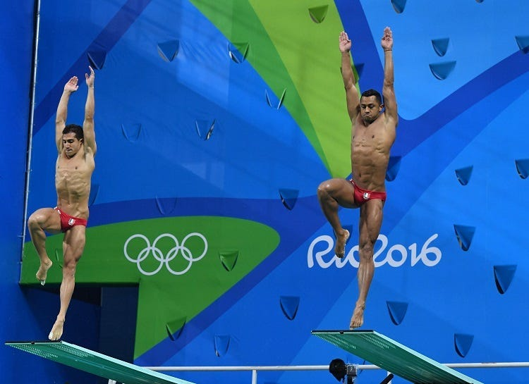 Jahir Ocampo and Rommel Pacheco (MEX) during the men's 3m springboard synchronized diving final at Maria Lenk Aquatics Centre.