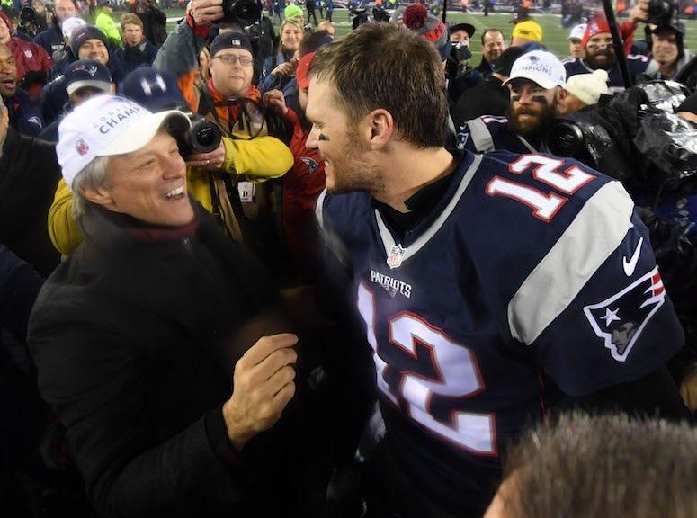 Jon Bon Jovi, Tom Brady, New England Patriots, AFC Championship, 2017