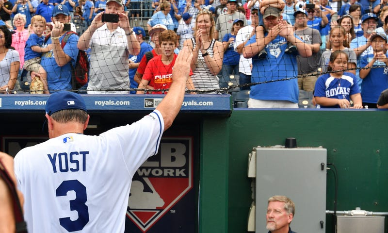 Sep 29, 2019; Kansas City, MO, USA; Kansas City Royals manager Ned Yost (3) waves to the crowd as he walks into the dugout after his last game before retirement against the Minnesota Twins at Kauffman Stadium.