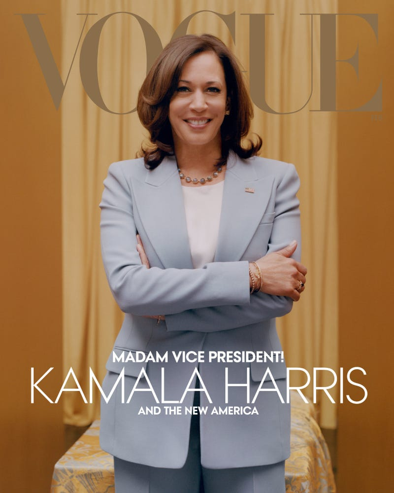 Kamala Harris on the cover of Vogue's February 2021 issue in a Michael Kors Collection suit.