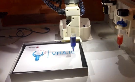 A 3D printing of the VA Innovation Ecosystem logo at a conference in Chicago