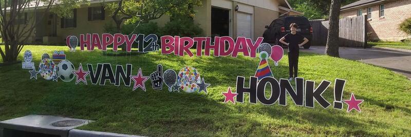 12-year-old Van poses in his front yard as neighbors honk to celebrate his birthday.