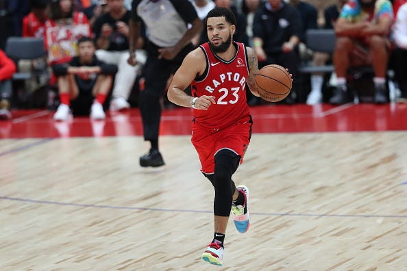 Raptors PG Fred VanVleet brings the ball up the court.
