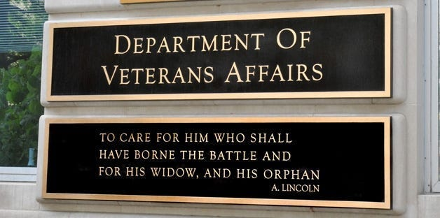 Department of Veterans Affairs sign displaying the department mission statement.