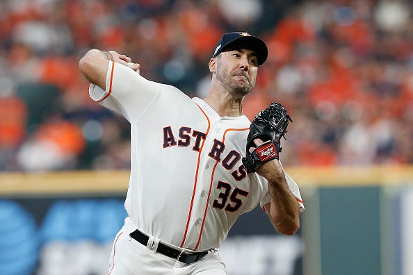 Justin Verlander hurls a pitch against the Rays in the playoffs.