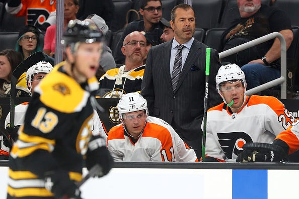 Alain Vigneault commands the Flyers from the bench.