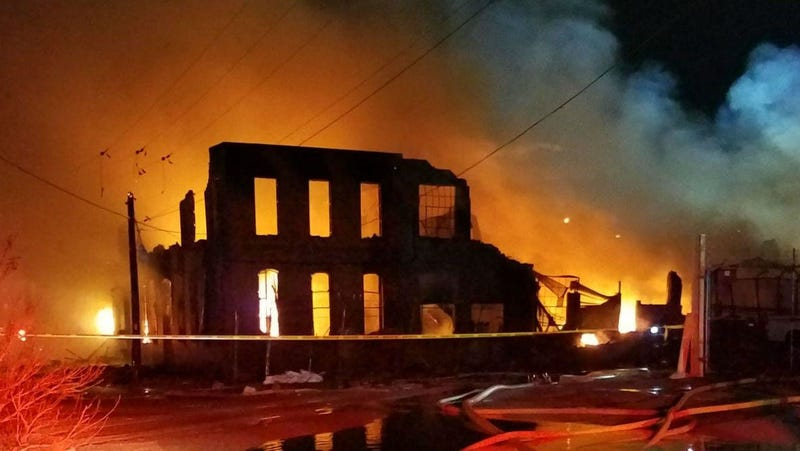 Four-alarm warehouse blaze