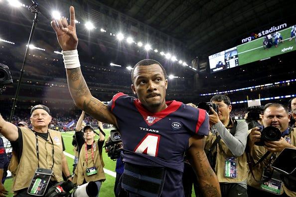 Deshaun Watson celebrates a thrilling Texans playoff win.