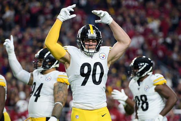 T.J. Watt celebrates a big play with the Steelers.