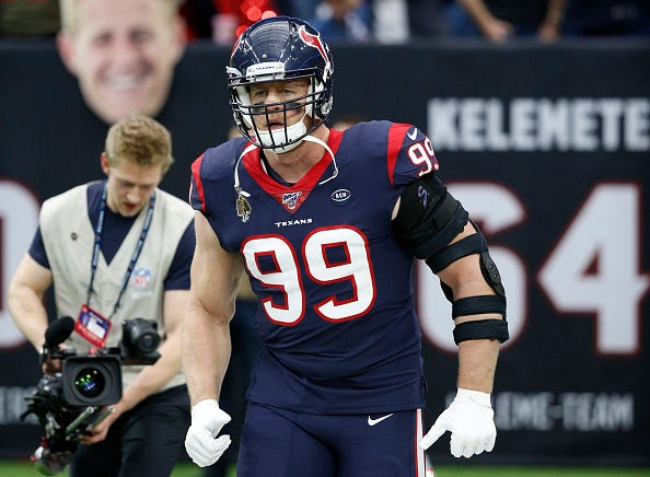 J.J. Watt takes the field for the Houston Texans.