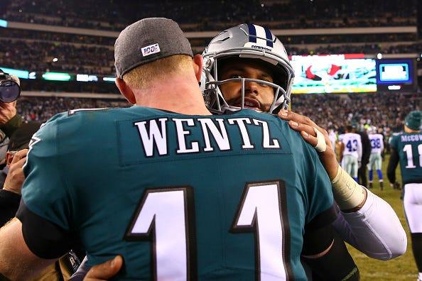Carson Wentz, Dak Prescott hug after an Eagles-Cowboys game.