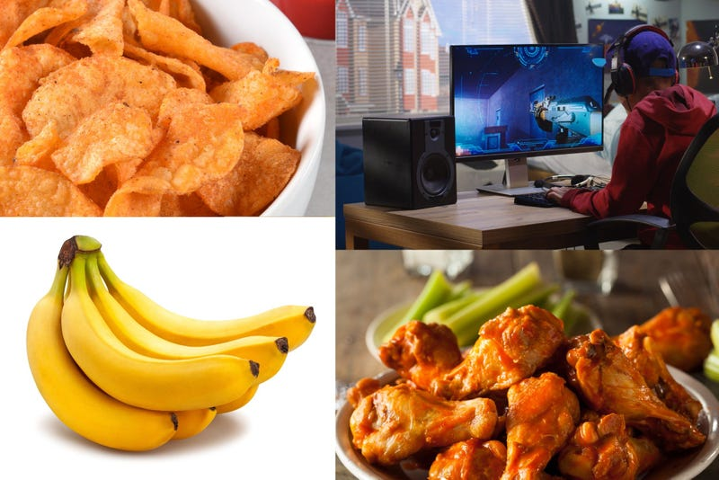 Video games, bananans, BBQ chips and chicken wings