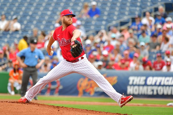 Zack Wheeler pitches for the Phillies in spring training.